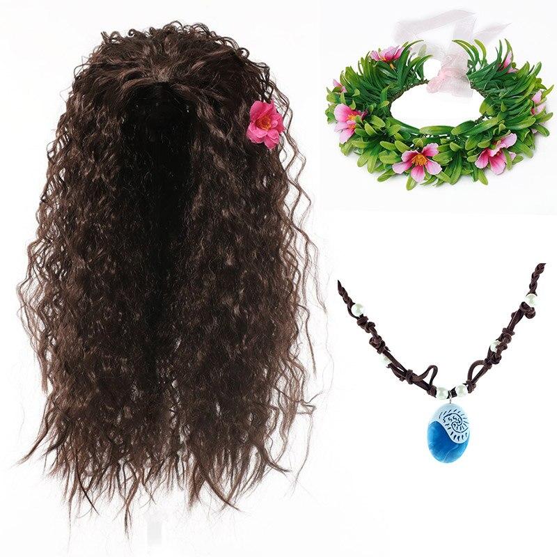 Moana peruca para cosplay de dia das bruxas, kit de acessórios para meninas, peruca sintética para crianças, vaiana, floral, comic con