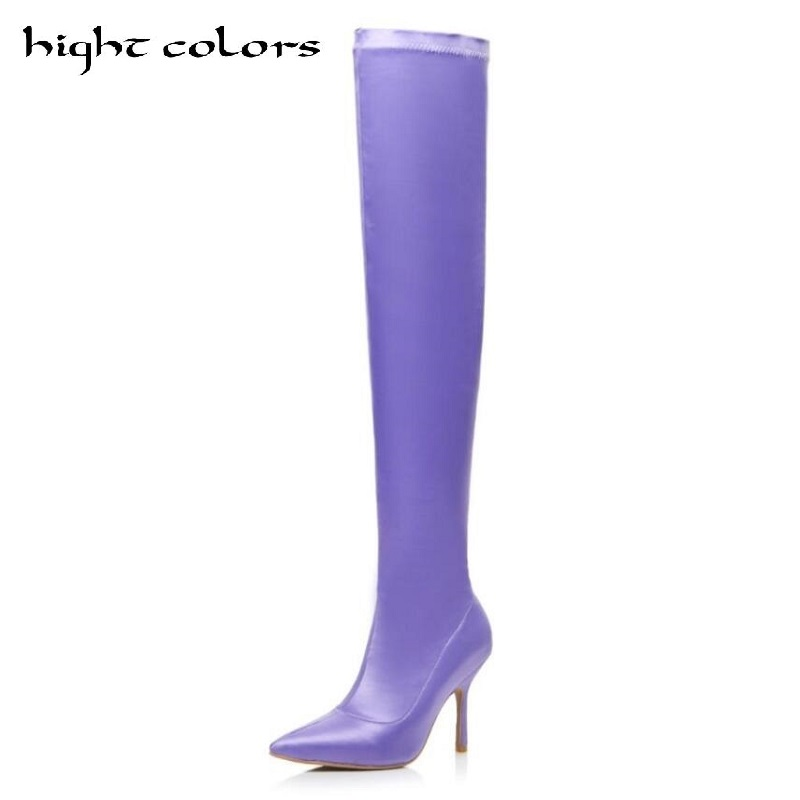 Satin Fabric Stretch Purple Fashion Sexy Long Thin Pointed High Heels Stiletto Thigh Boots Women's Elastic Stovepip Knee Boots jialuowei women sexy fashion shoes lace up knee high thin high heel platform thigh high boots pointed stiletto zip leather boots