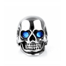 Titanium steel EDC tools, Stainless ring, men Personality punk titanium with red and blue eye ring Skull