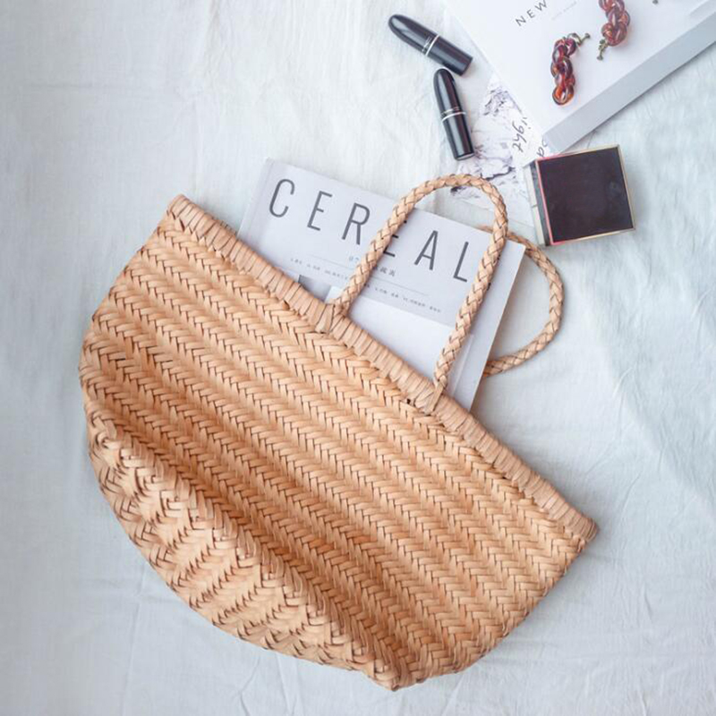 Women's Genuine Leather Woven Shoulder Bag Cool Weaving Bucket Handbags French Casual Tote Purse Cowhide Cross Handle Bags