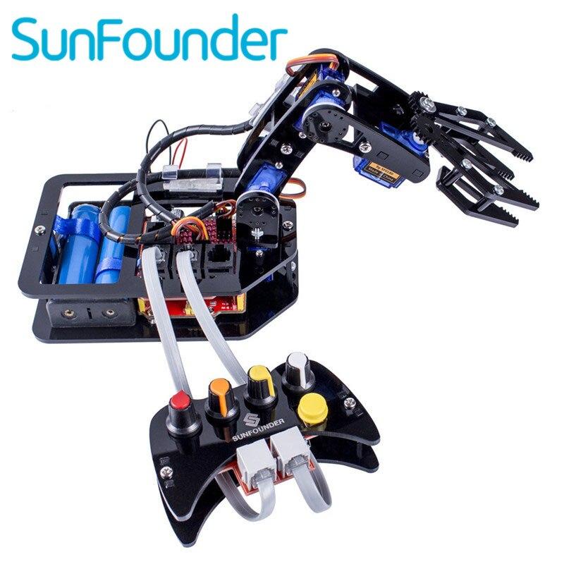 SunFounder Électronique Bricolage Bras Robotique kit 4 Axes Servo Contrôle Rollarm avec Manette Filaire pour Arduino Uno R3