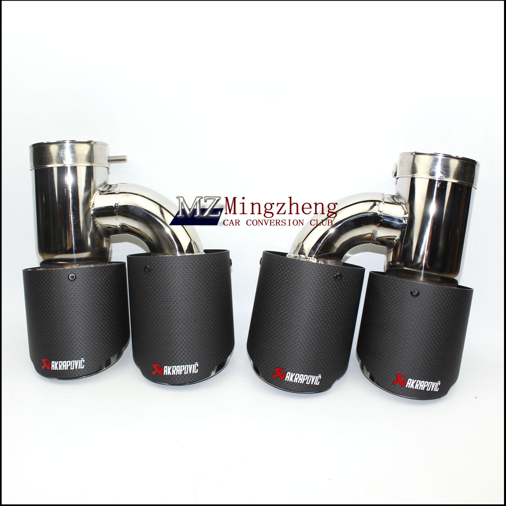 Car exhaust pipe H Model Akrapovic Carbon Exhausts Dual End Tips for BMW BENZ AUDI VW Exhaust Dual Muffler Pipes Tail Tips one pair car styling akrapovic car glossy carbon exhausts dual tips universal ak glossy carbon dual end pipe muffler pipes