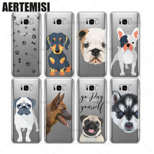 Aertemisi Clear TPU Case Cover for Samsung Galaxy S6 S7 S8 Edge Plus Rottweiler French Bulldog Schnauzer Doxie Husky Puppy(China)