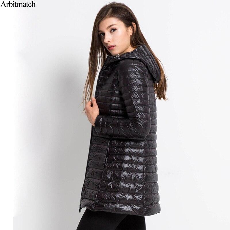 Arbitmatch جديد 2017 المرأة أسفل معطف زائد حجم 6xl الشتاء الدافئ سترات خفيفة جدا 90% بطة أسفل دثار هود أسفل سترة الإناث