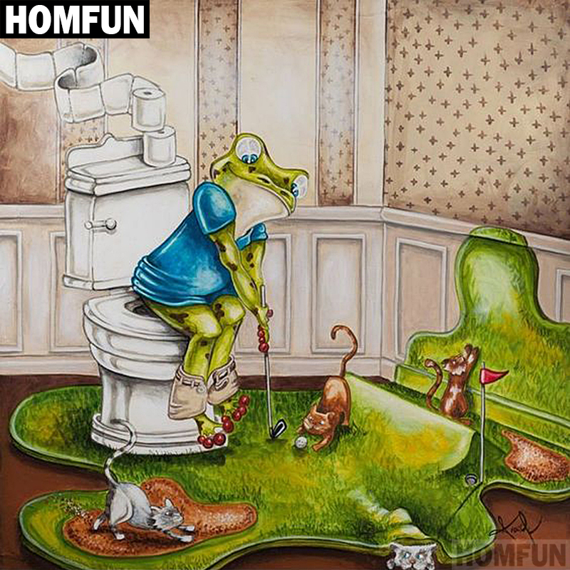 HOMFUN Full Square/Round Drill 5D DIY Diamond Painting Frog Golf 3D Embroidery Cross Stitch Mosaic Home Decor Gift A00613