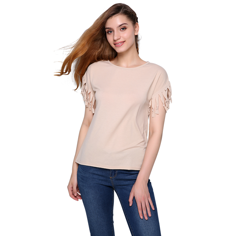 Women cotton tassel casual blouses short sleeved solid for Best short sleeve shirts