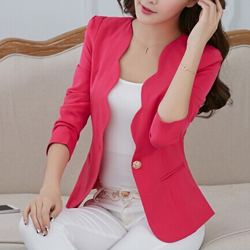 Newest Autumn casual jackets women slim short design suit jackets office women coat clothing -Rosy,M ...