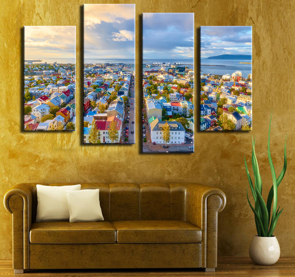 Aliexpress Com Buy 4 Piece Wall Paintings Home Decorative Modern View Of Reykjavik In Iceland Combination Paintings For Home Creative Idea Decor From
