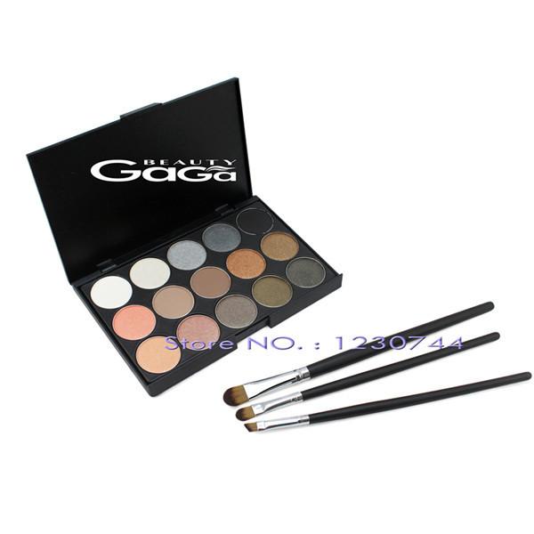 Beleza 15 Cores de Longa Duração Maquiagem Ilumine Corretivo Neutro Nu Paleta Da Sombra + 3 pcs Eyeshadow Brushes kit de Maquiagem