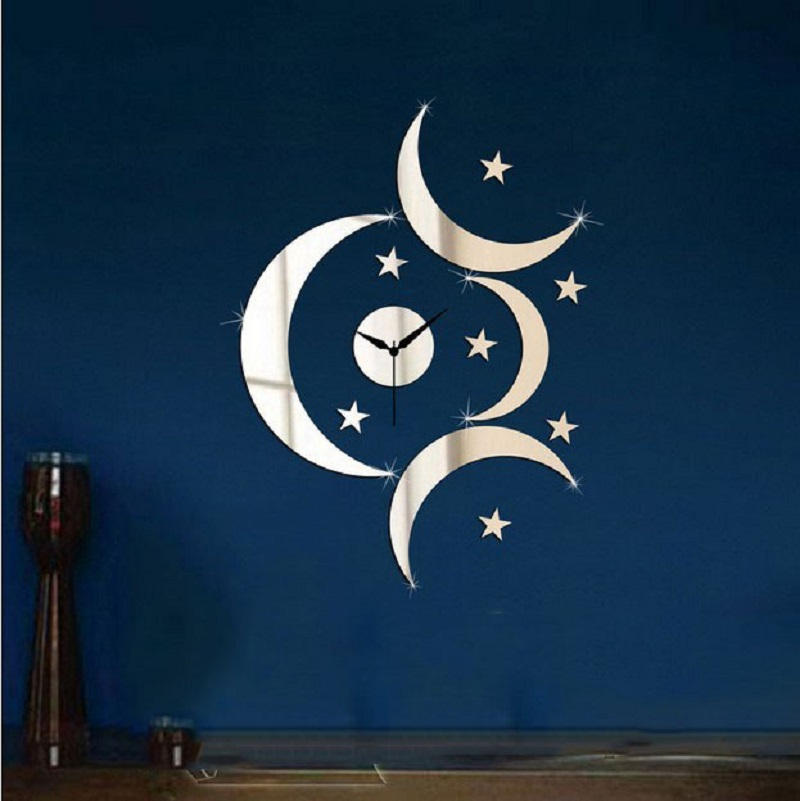 Free Shipping3d Moon And Star Mirror Sticker Romantic
