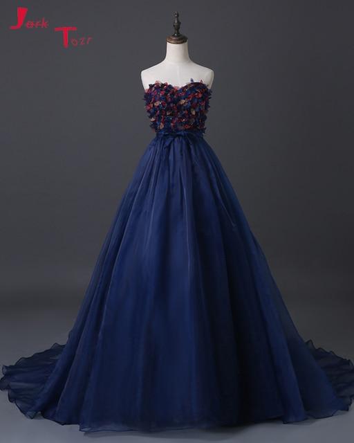 17457 28 De Réductionjark Tozr Vestidos De Novia Main Fleurs Folles Paillettes Perles Corsage Robes De Mariée Bleu Marine Luxe A Ligne Robes De