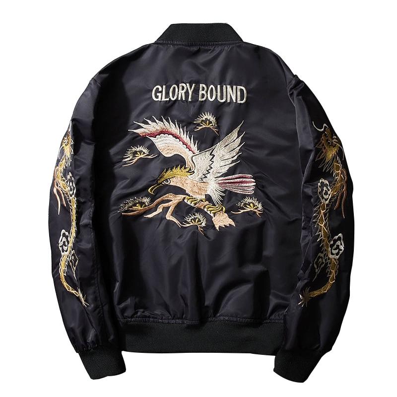 2017 new spring black embroidery yokosuka japan jacket men