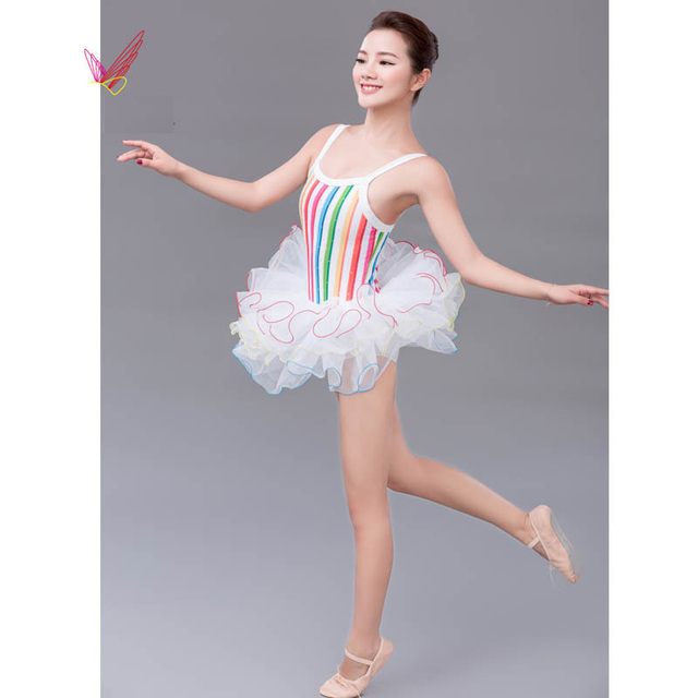 1cb892e6e048 Free Shipping Diamond Rainbow Ballet Tutu Dance Wear For Girls ...