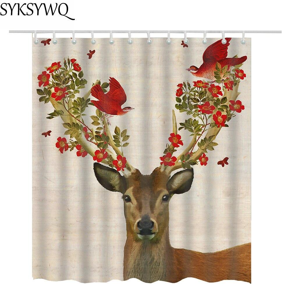 72*72 inch flower antlers deer shower curtains bathroom curtain fabric polyester cortina de ducha bathroom curtain waterproof