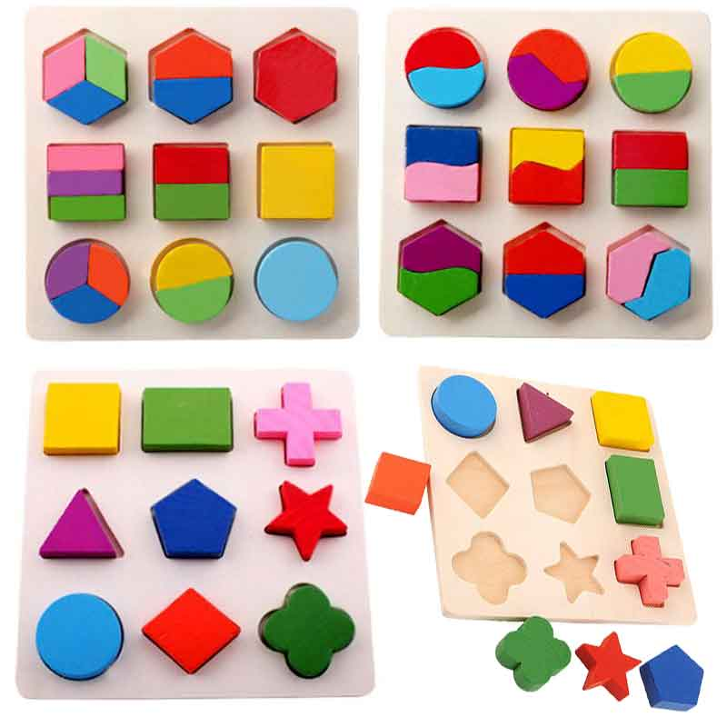 Hot Selling Kids Baby Wooden Learning Geometry Educational Toys Puzzle Montessori Early Learning
