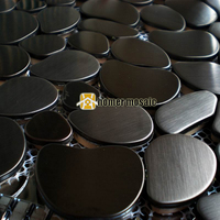 pebble design black color stainless steel metal mosaic tiles for living room kitchen backsplash metal mosaic