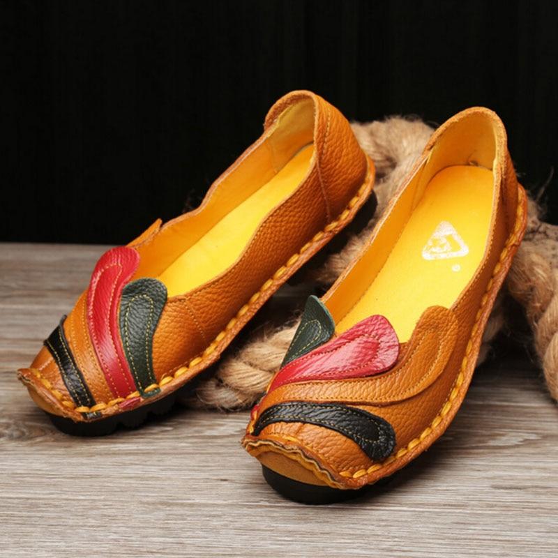 font b Women b font Genuine Leather Shoes Handmade Casual font b Women b font