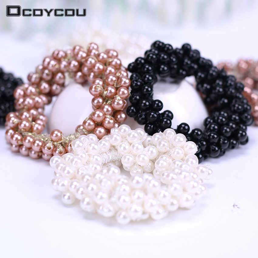 Women Hair Accessories Pearls Hair Band Ponytail Holder for Girls Elastic Rubber Rope Headdress