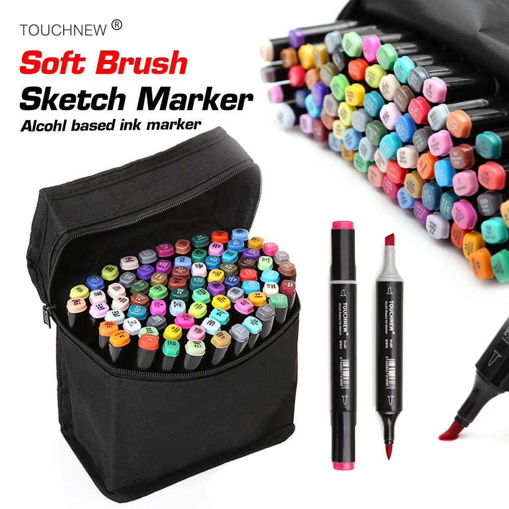 TOUCHNEW Soft Brush Marker Dual Headed Alcohol Based Sketch Marker For Animation Manga Professional Drawing DesignSupplies