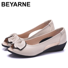 BEYARNESummer Peep Toe Ladies Sandals Wedge Low Heel 4CM Open Toe Genuine Leather Flat Sandals For Women Slip On SummerShoesE115