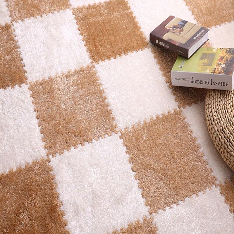 30x30CM piece EVA Foam DIY Puzzle Mat Long Hair Villi Shaggy Carpet Mat velvet Plush Warm Soft Area Rug Children Baby Playmat in Mat from Home Garden