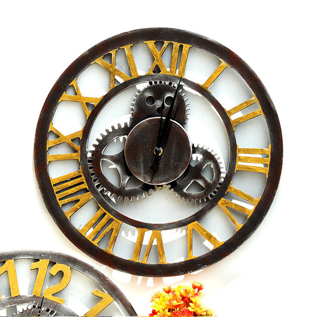 Retro Industrial Style Household Bar Wall Decoration Clock Creative Gear  Wooden Hanging Vintage Silent Wall Clock