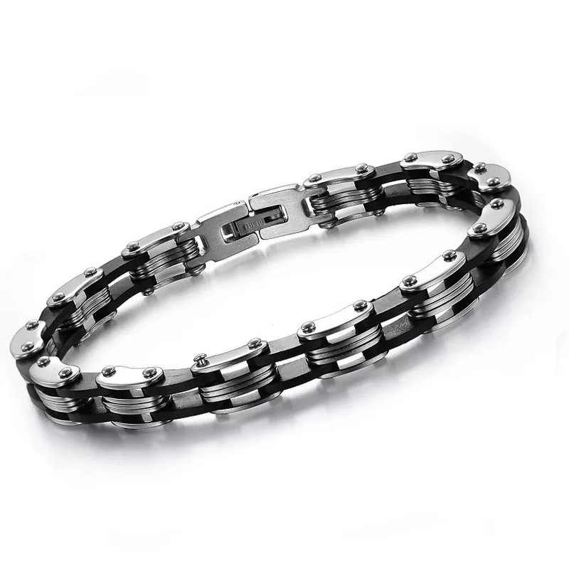 MD High Quality Punk Men's Stainless Steel Bracelet Silver Link Black Silicone Chain Cuff Bangle Cycling Wristband