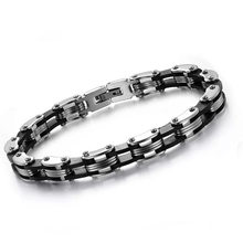 MD High Quality Punk Men's Stainless Steel Bracelet Silver Link Black Silicone Chain Cuff Bangle Cycling Wristband(China)