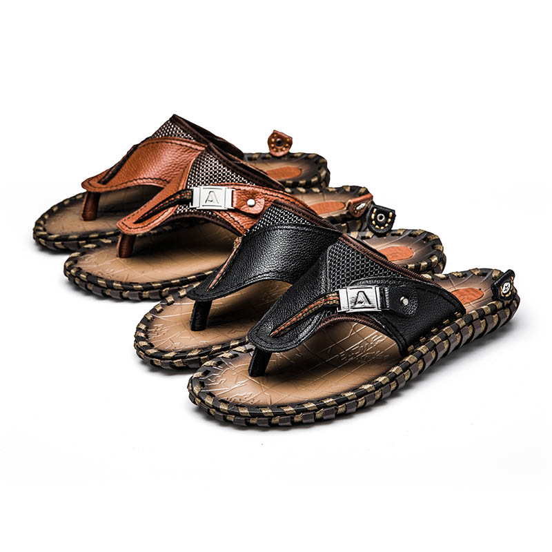 Outdoor Leather Slippers Mens Soft Sole Flats Man Slipper Summer Breathable Beach Flip Flops Men(China)
