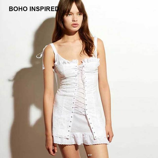 Boho Inspired Lace Up Corset Summer Dress White Cotton Frill Ribbon Bow Straps Slip