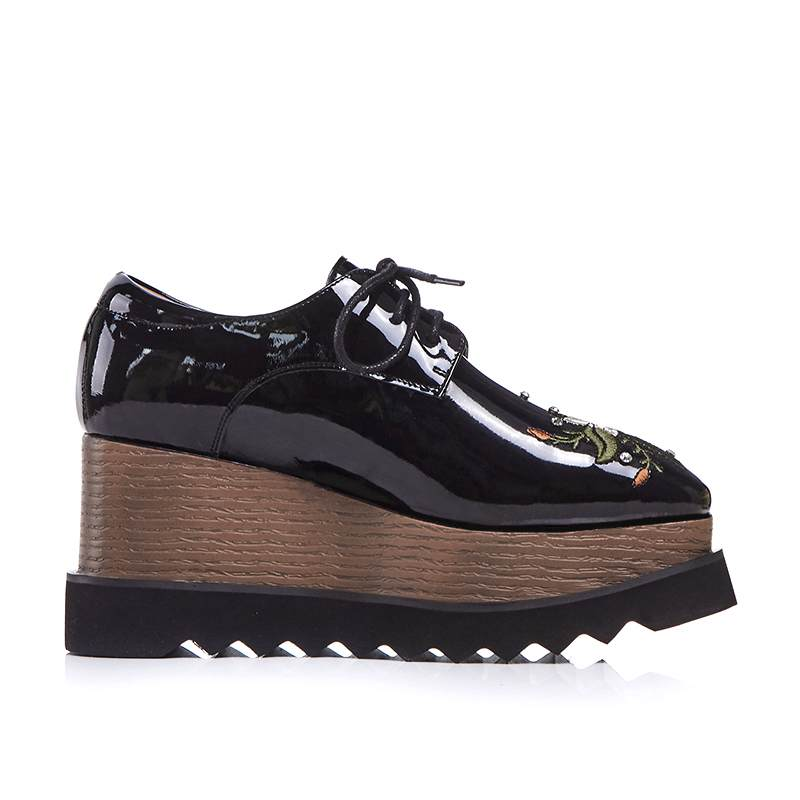 Krazing pot 2019 round toe genuine leather lace up embroidery flowers flat platform oriental fashion streetwear oxford shoes L23