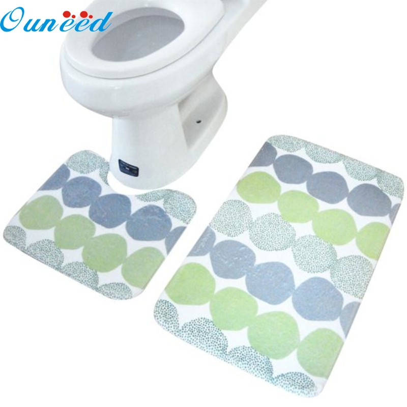 Ouneed Happy Home 2PCS Rug Memory Foam Bathroom Rug Mat Floor Carpet Set цены