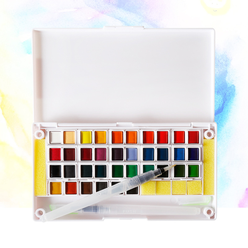 12/18/24/30/36/40/48 Colors Portable Solid Pigment Watercolor Painting Set With Paintbrush Bright Color For Gift Stationery цена