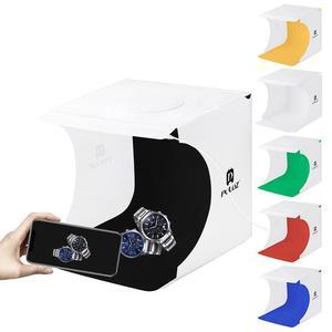 """Image 4 - PULUZ 2 LED Panels Mini Folding Studio 8"""" Diffuse Soft Box Lightbox with Black White Photography Background Photo Studio box"""
