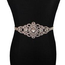 Hecho a mano de cristal de boda cinturón de diamantes de imitación boda  Vestido cinturón de cristal de oro rosa nupcial boda ves. 3f5f2cf30a37