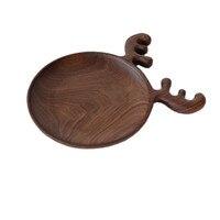 7 inch Antler Fruit Nut Art Tray Handmade Walnut Wood Tray Model