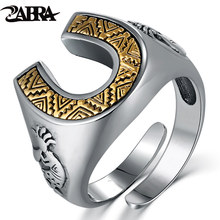 ZABRA Solid 925 Sterling Silver Horseshoe Indians 14mm Wide Steampunk Opening Rings For Men Women Vintage Retro Male Jewlery(China)