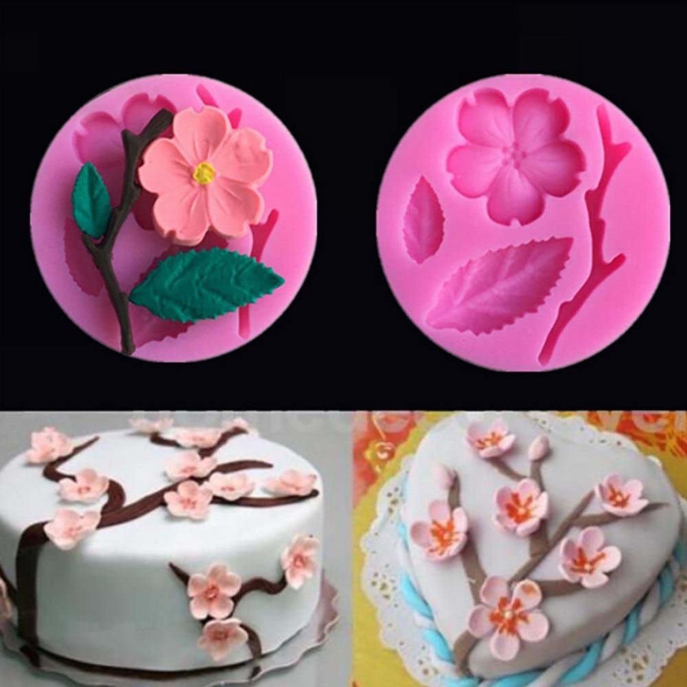 DIY Peach Blossom Shape Decorating Tools Chocolate Silicone Cake Mold