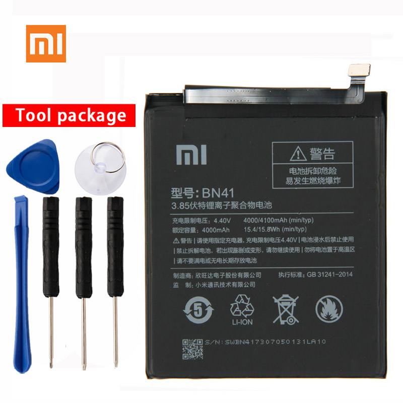 Original Xiaomi BN41 Phone battery  For Xiaomi Redmi Note 4 Note4 MTK X20 4100mAh Mobile Phone Replacement Battery-in Mobile Phone Batteries from Cellphones & Telecommunications