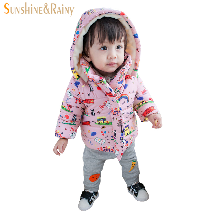 Newborn Baby Winter Coat Snow Wear Cartoon Graffiti Girls Jackets For Boys Outwear Coats Baby Snowsuit Infant Outfit Clothes New winter baby snowsuit baby boys girls rompers infant jumpsuit toddler hooded clothes thicken down coat outwear coverall snow wear