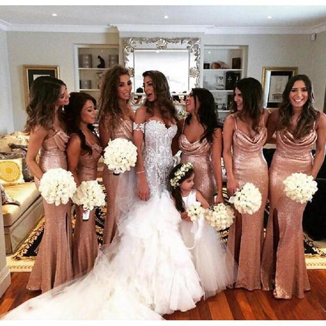 Sparkly Rose Gold Mermaid Bridesmaid Dresses 2017 Spaghetti Straps Side Split Sequins Backless Long Wedding Party