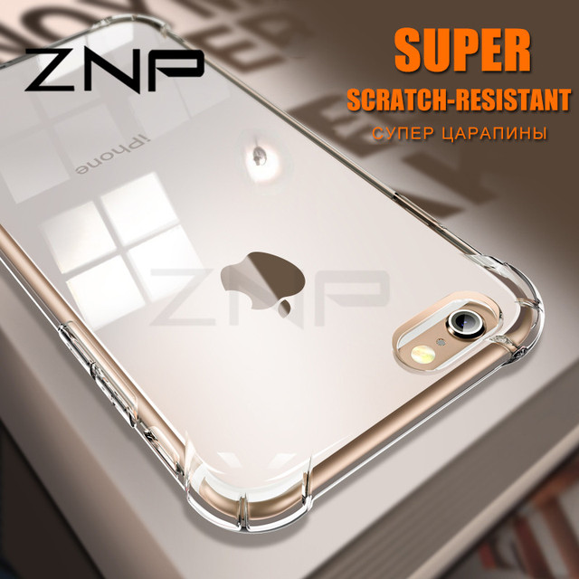 80003b20021 ZNP Luxury Anti-knock Silicone Case For iphone 6 7 8 Plus X Slim Transparent  Soft TPU Phone Cover For iphone X 10 8 7 6 6s Case