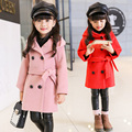 2017 girls clothes children clothing girls wool coat thick hooded woolen blends girls winter coat and jacket kids clothes 2-14Y