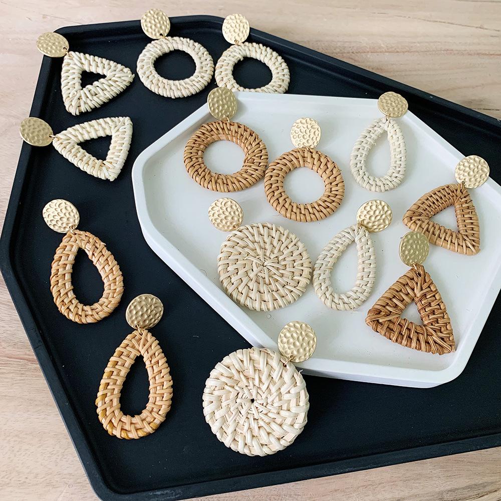 Bohemian Wicker Rattan Knit Pendant Earrings Handmade Wood Vine Weave Geometry Round Statement Long Earrings for Women Jewelry 3