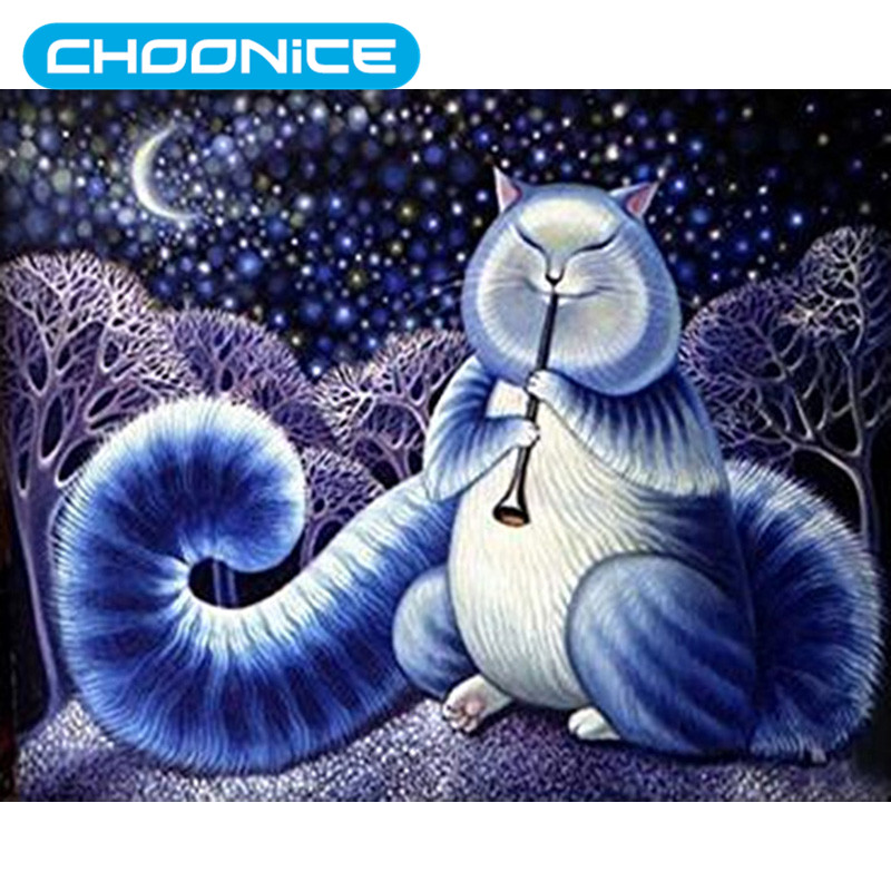 Cat Diamond Painting Music Fat Cat Moonlight DIY 3D Diamond Embroidery Small Animals Cross Stitch Pokemon Kitten Picture Mosaic