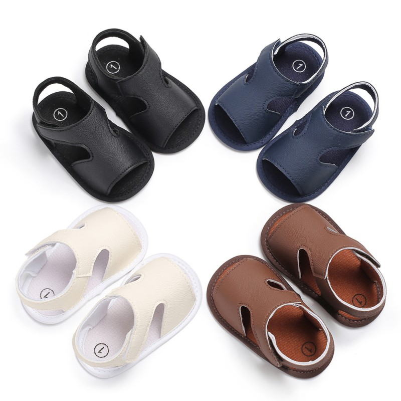 2018 Summer Shoes Baby Boys Soft Leather Sandals Kid Boys Solid Prewalker Soft Sole PU Leather First Walkers H1