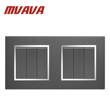 MVAVA 6 Gang Double Electrical Wiring Push Button Light Wall Switch 16A 110~250V 220V Chromed Frame PC Panel Free Shipping free shipping lmn 3 gang 1 way electrical wiring push button light wall switch 16a 110 250v 220v chromed frame pc panel