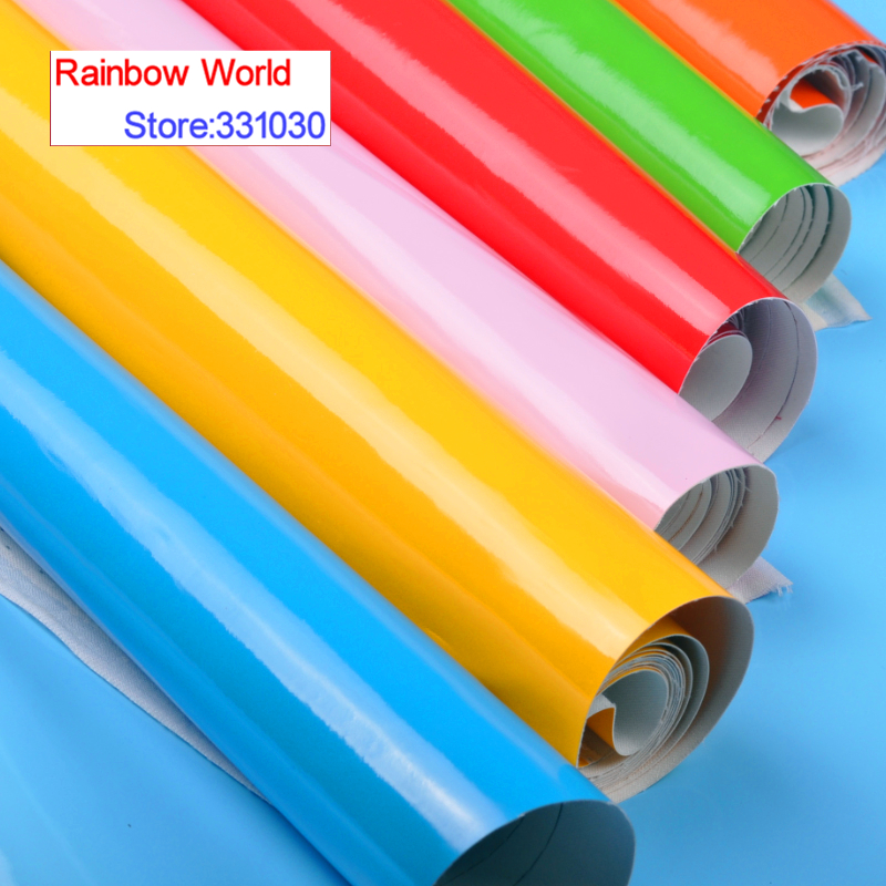 100*138cm 24 colors High Quality Shiny Vinilic PU Leather fabric for DIY sewing sofa shoes bags bed Garment material