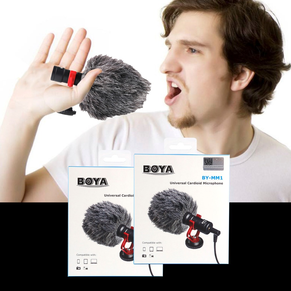 BOYA BY-MM1 nieren mikrofon revers Für DSLR kameras Verbraucher Camcorder Eingebaute mikrofon windschutzscheibe enthalten