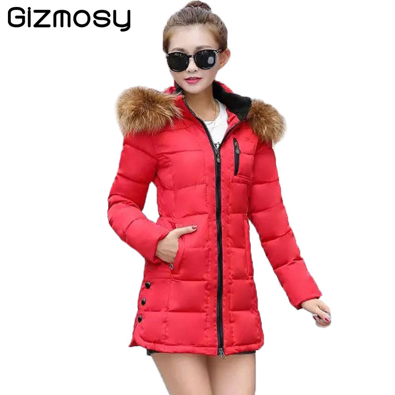 Winter Jacket Women Fur Collar Hooded Jakcet Female Plus Size Thicken Coat Long Cotton-Padded Wadded Warm Parka Outwear BN950 new winter women jacket medium long thicken plus size outwear hooded wadded coat slim parka cotton padded jacket overcoat cm1039